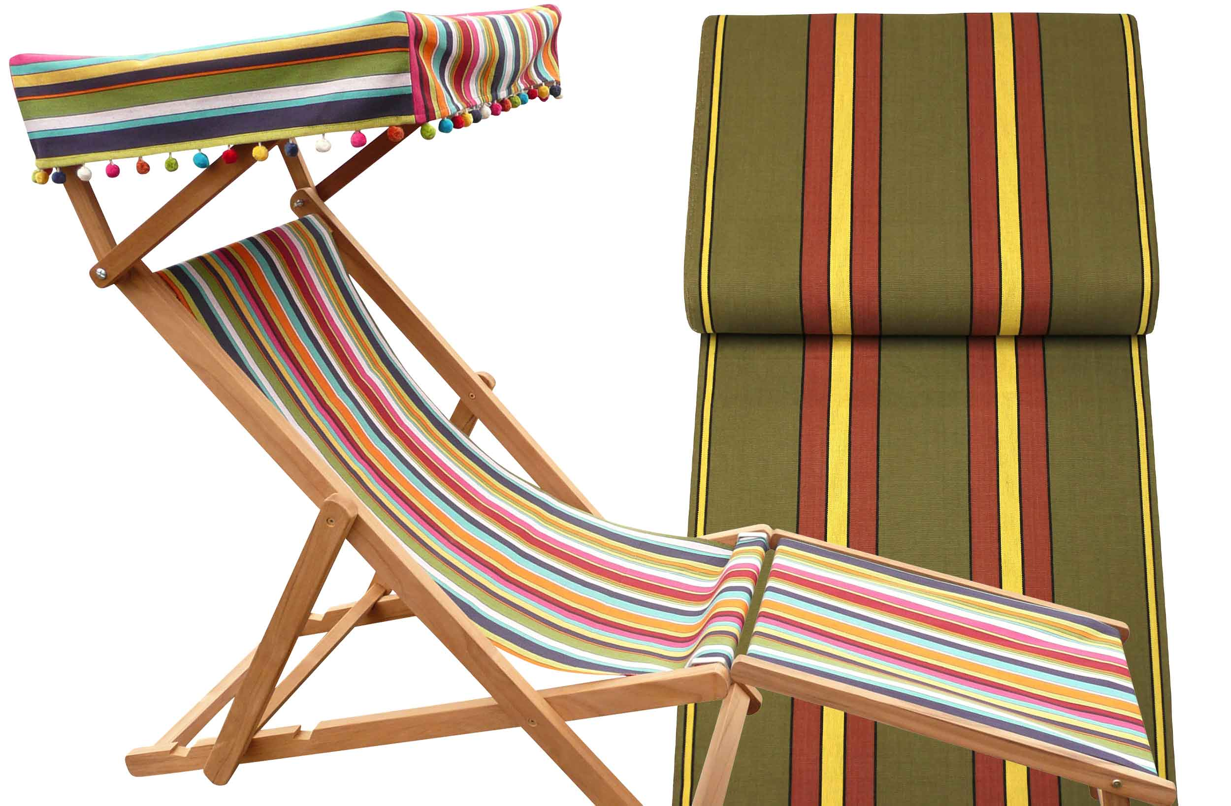 Edwardian Deckchairs with Canopy and Footstool khaki, maroon, sand