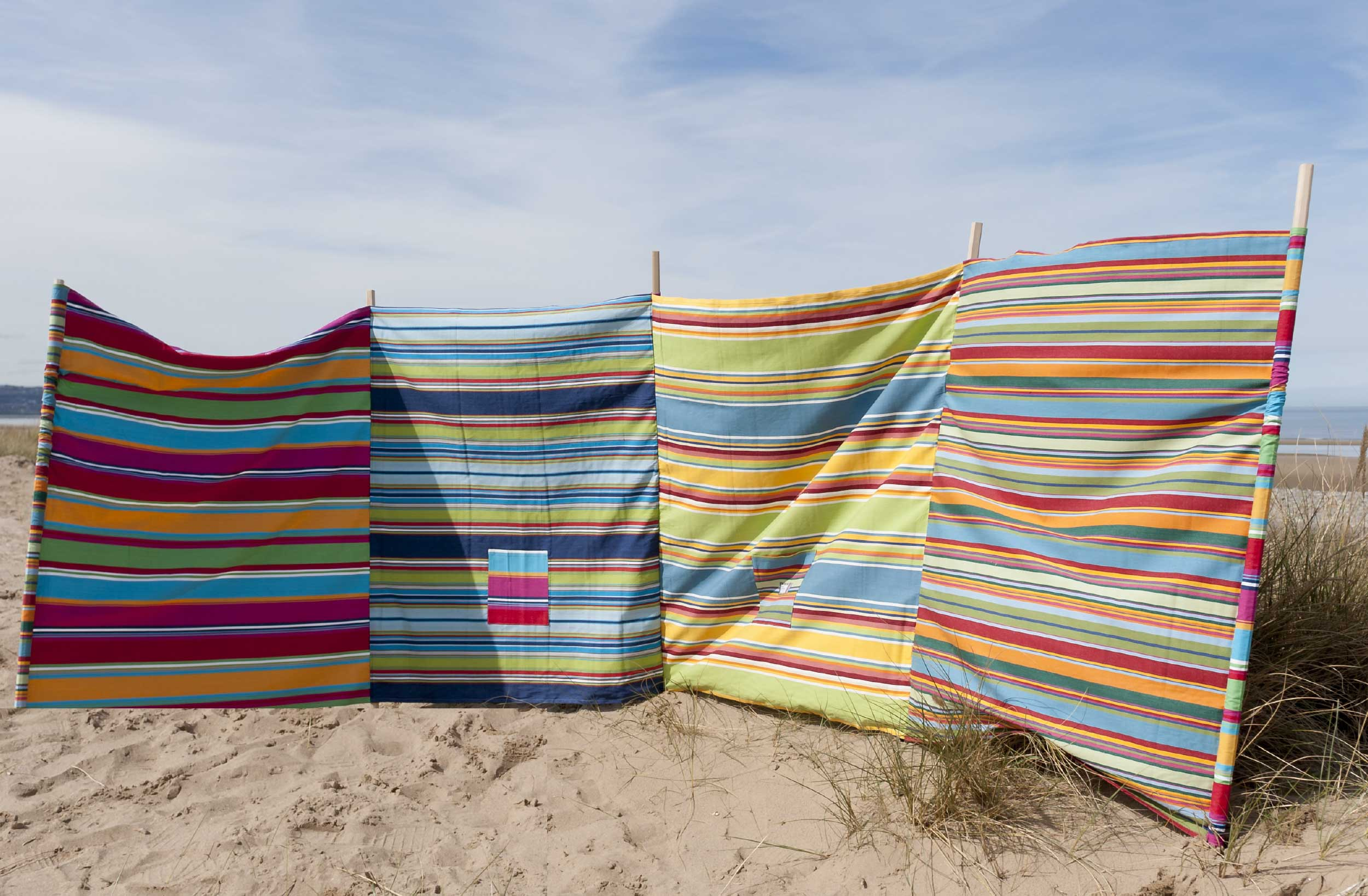 Large 5 Pole Windbreaks | Multi Stripe