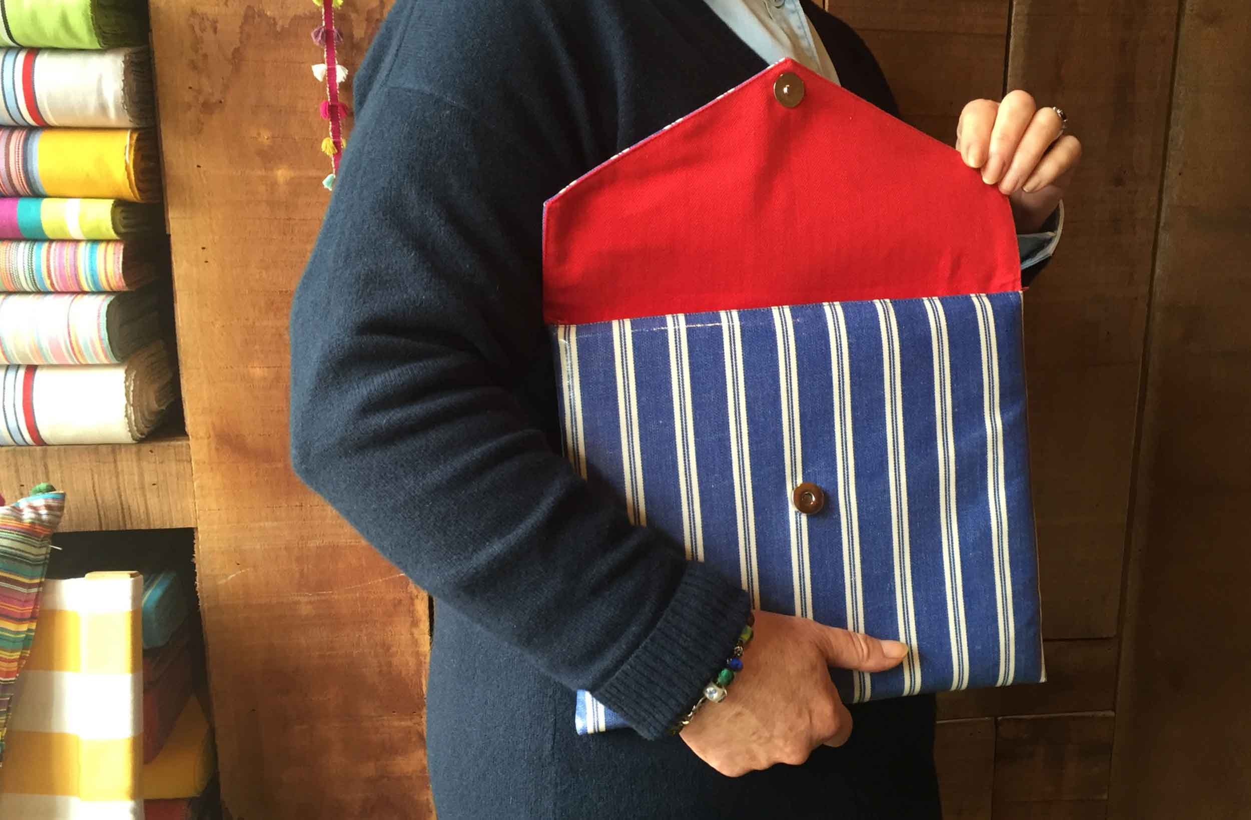 Blue Striped PVC Clutch Bags Large
