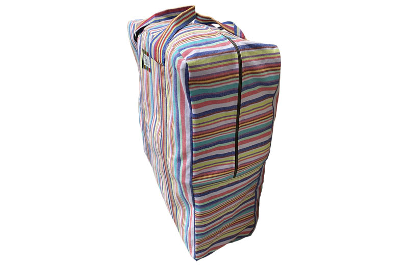 Large Striped Storage Bag for Bedding, Cushions, Textiles, Pillows