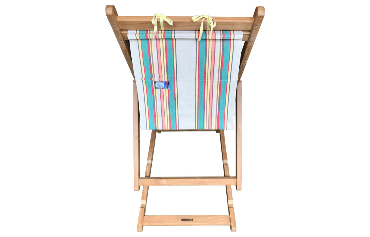 Teak Deckchair with Headrest and Storage Pockets in Latte, Jade Green, Red stripes