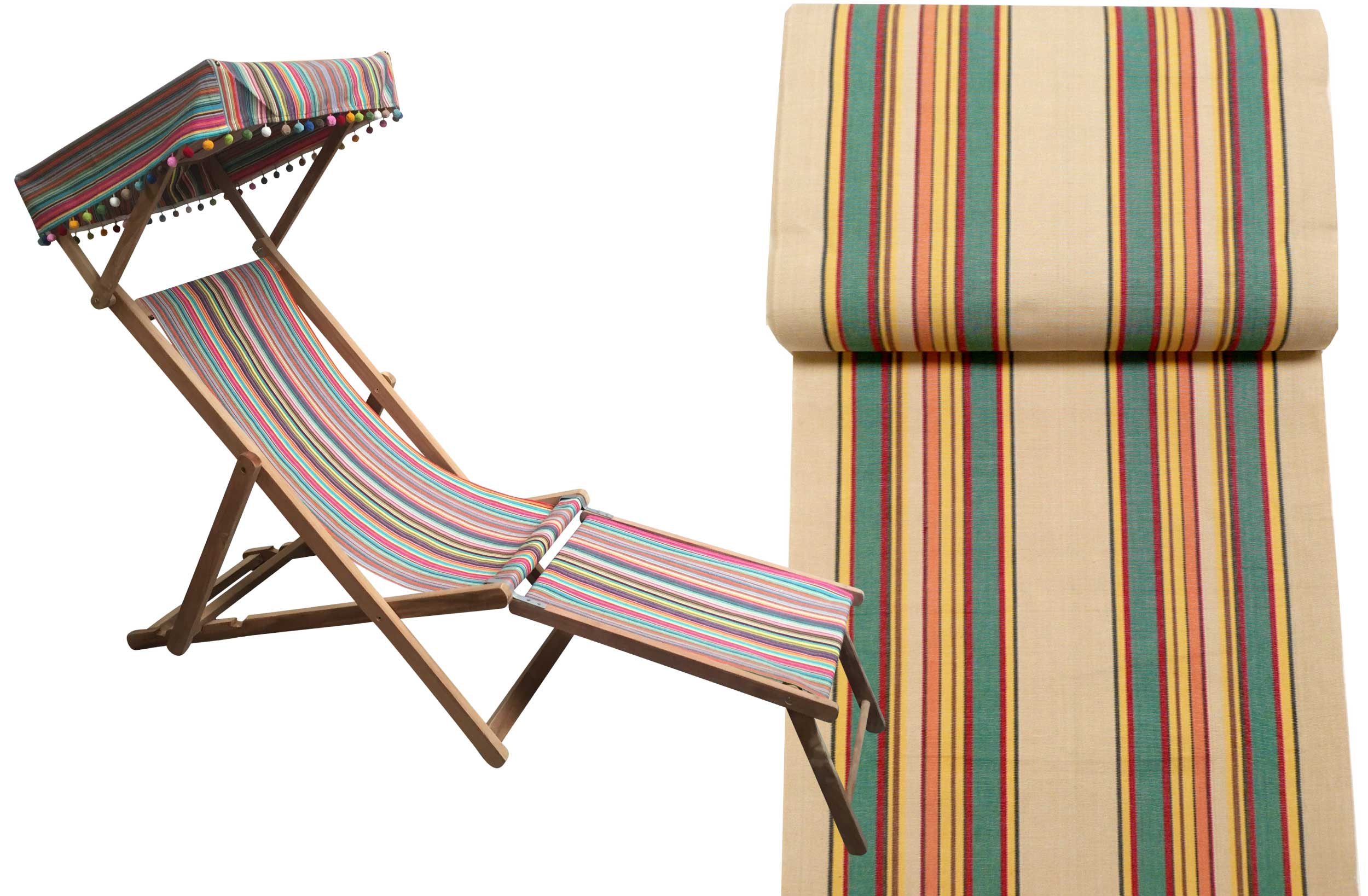 Edwardian Deckchair with Canopy and Footstool beige, jade green, red stripes