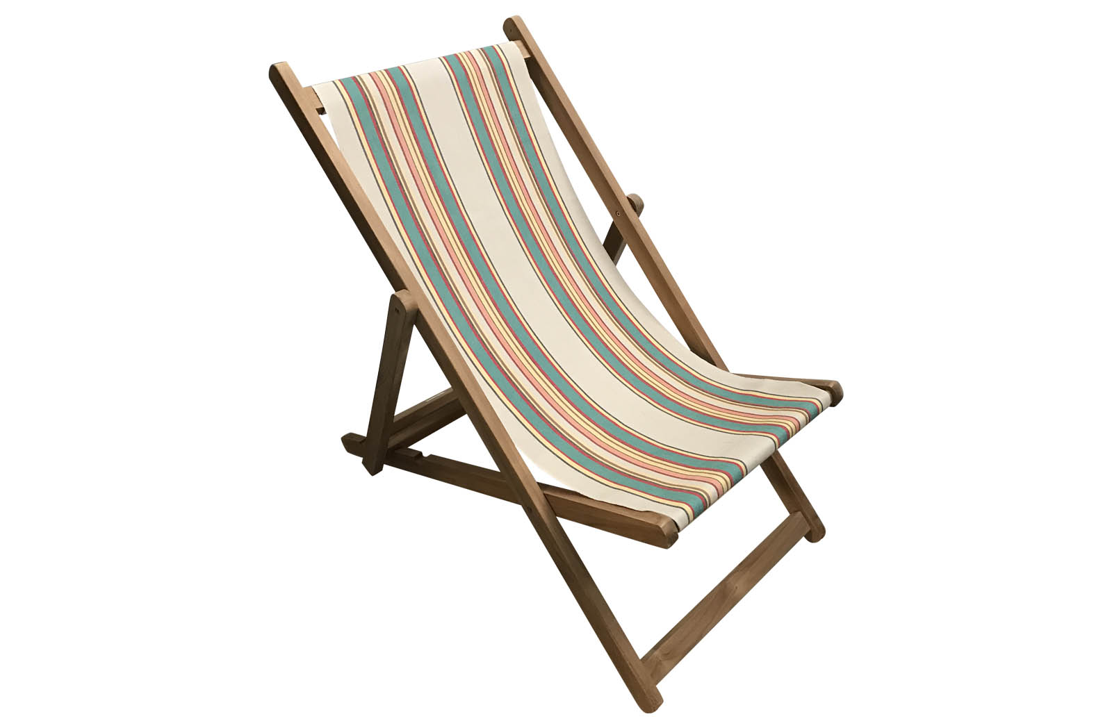 Beige, Jade Green, Red Striped Deckchairs