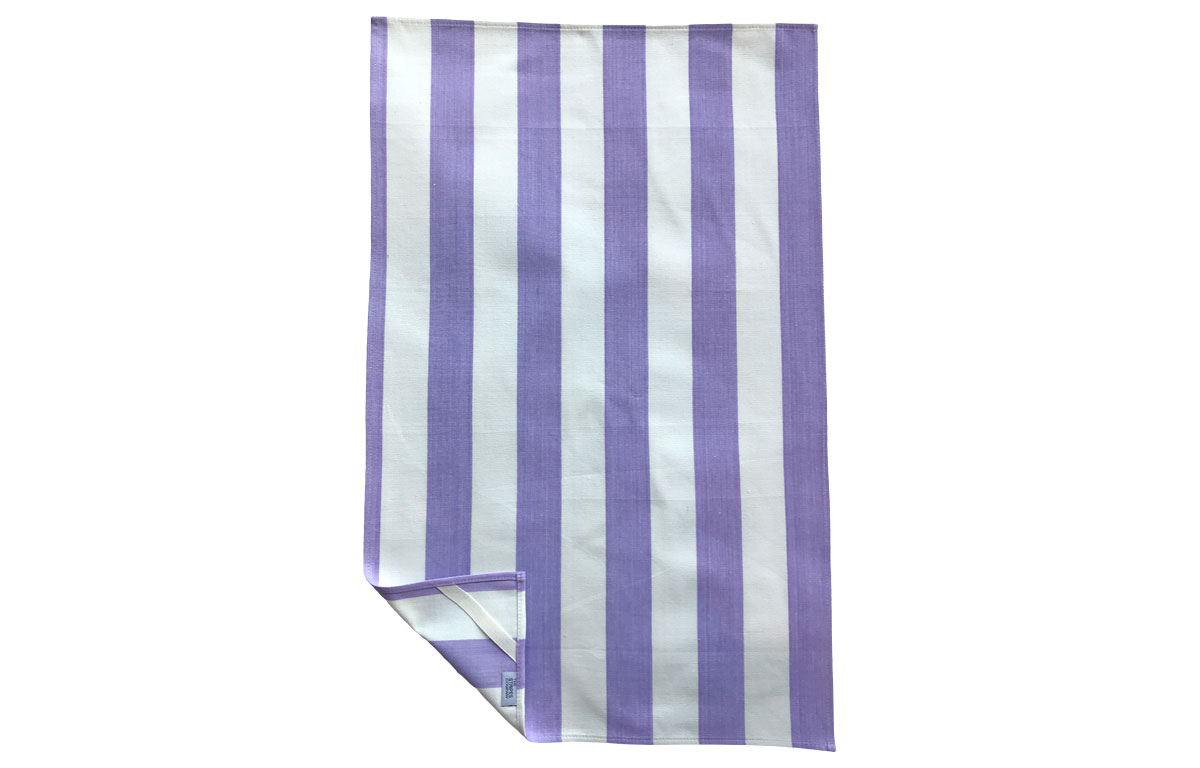Lilac and Off White Stripe Tea Towel