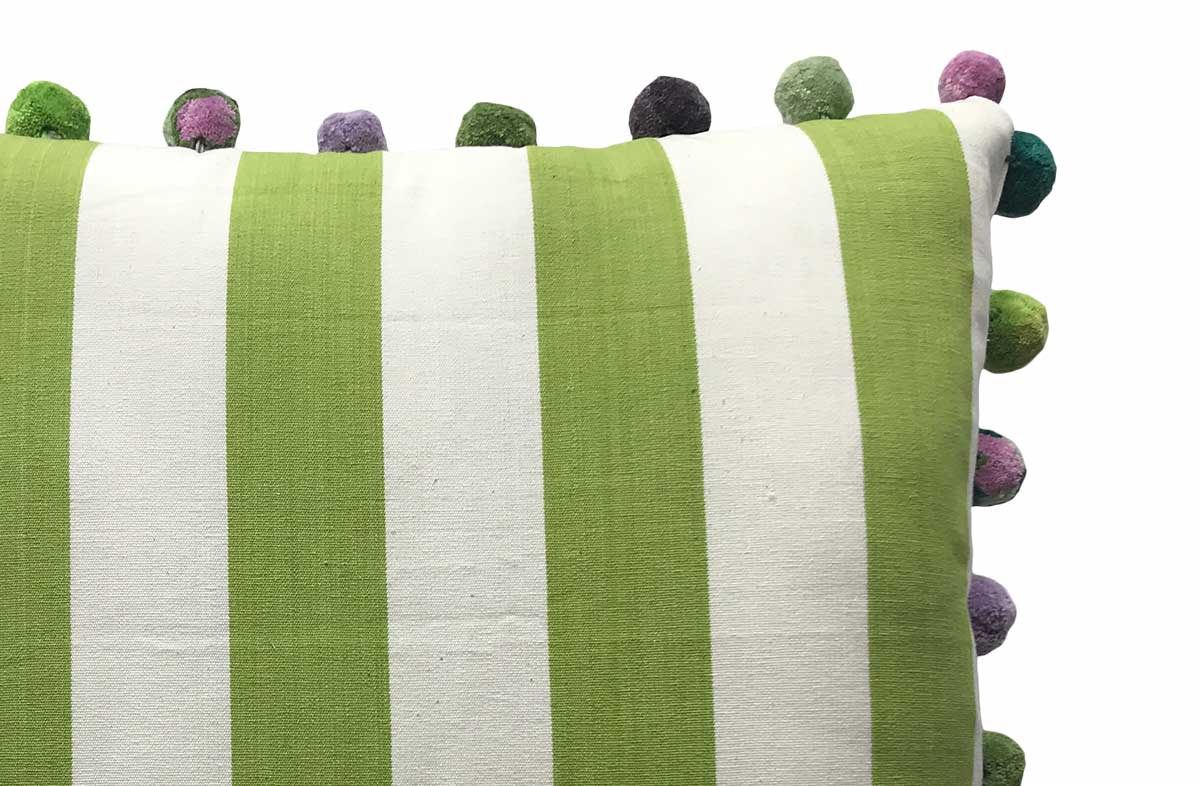 lime green, white- 50x50cm Striped Pompom Cushions