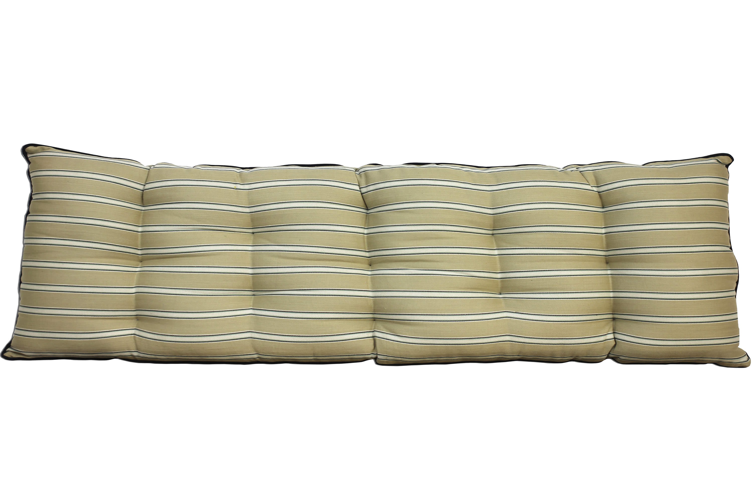 Beige Blue Striped Bench Cushions Long Seat