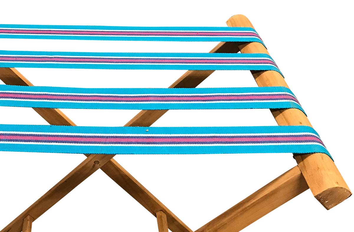 Turquoise Folding Luggage Rack - Backgammon Stripes