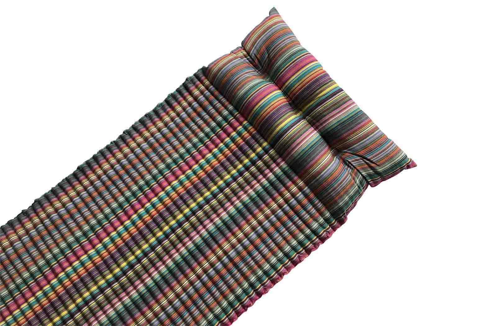 Multi Stripe Beach Mattress | Roll Up Beach Mat with Pillow
