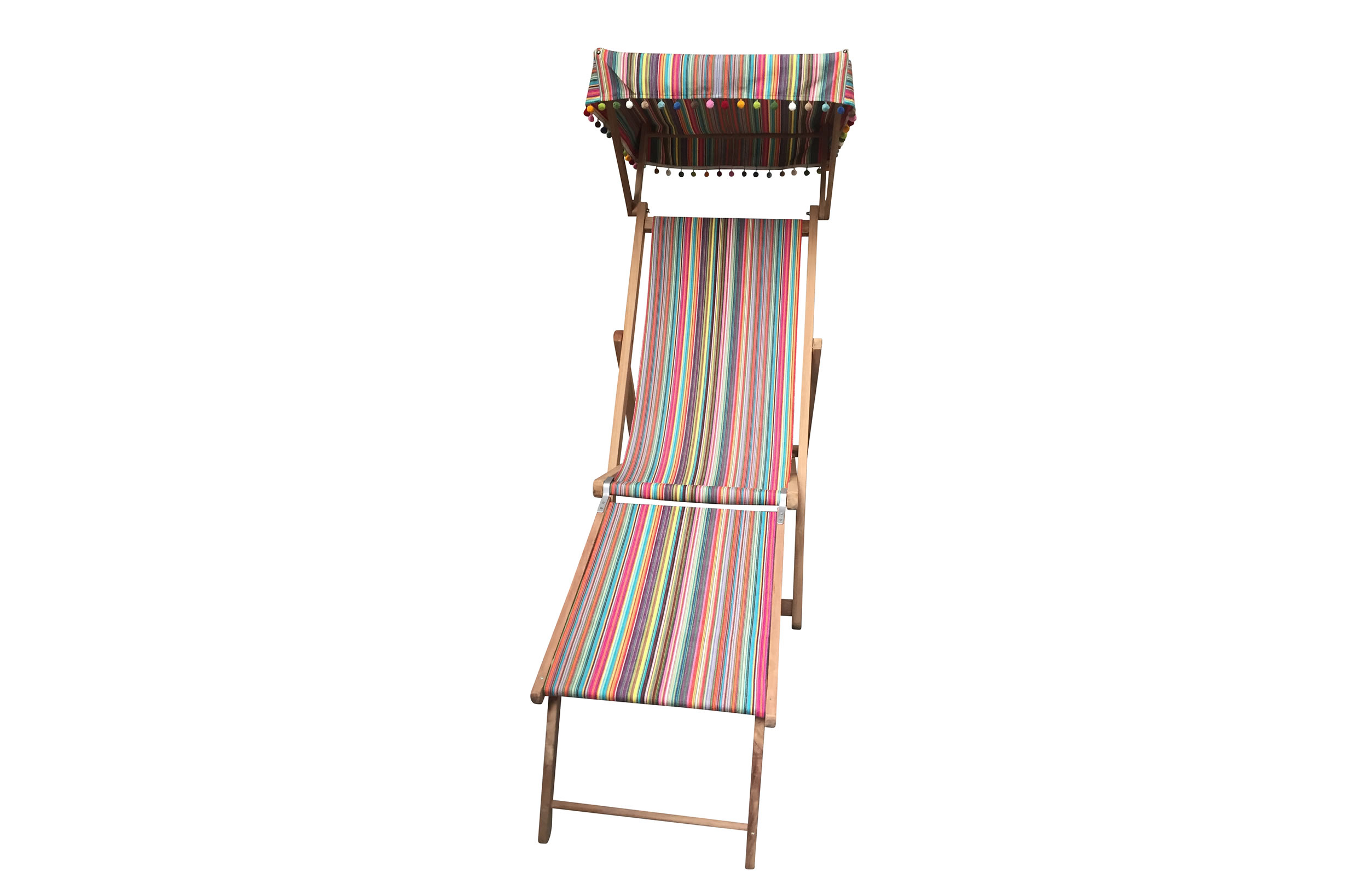 thin rainbow multi stripes - Edwardian Deckchairs with Canopy and Footstool