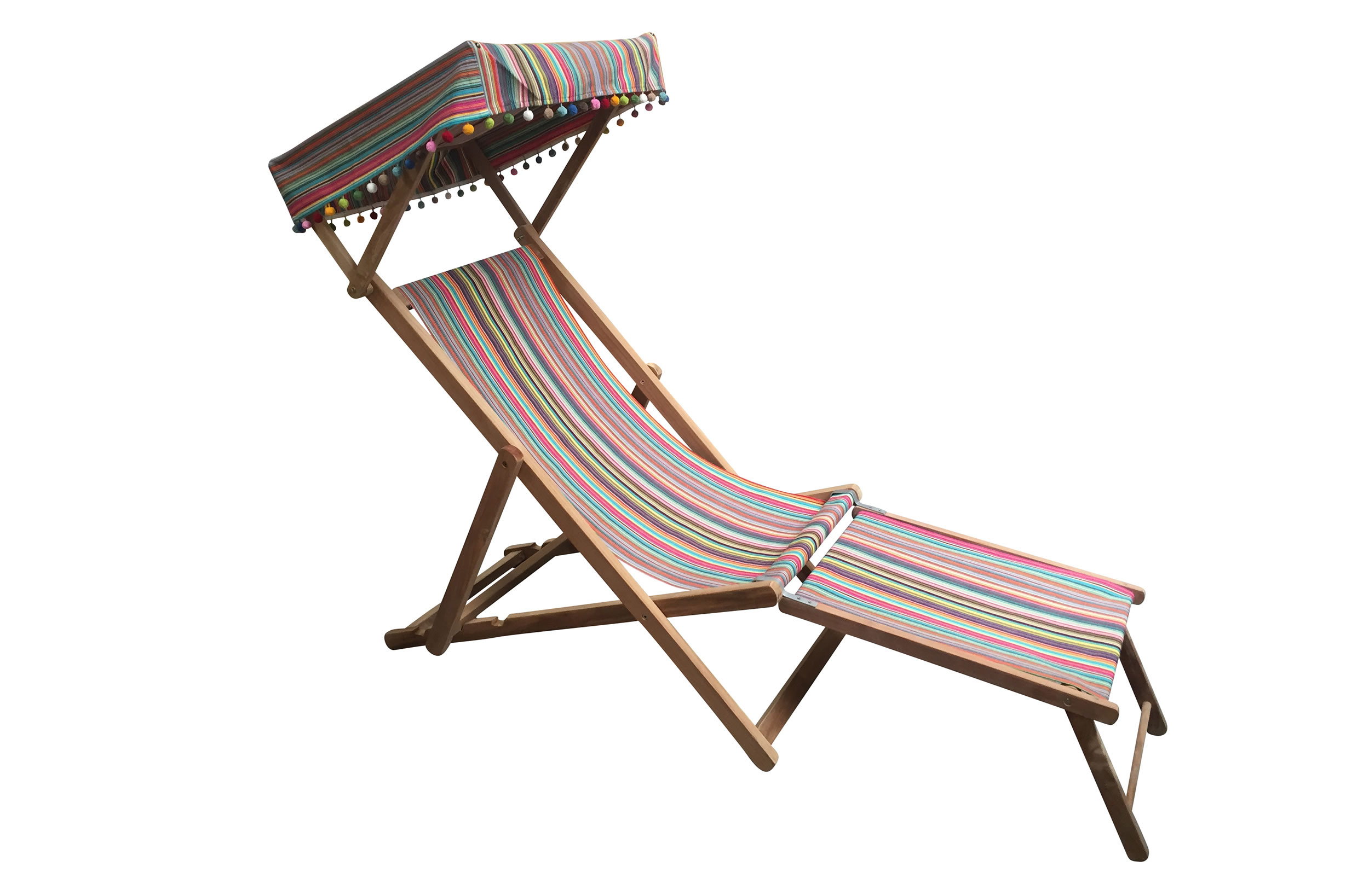 Edwardian Deckchairs with Canopy and Footstool thin rainbow multi stripes