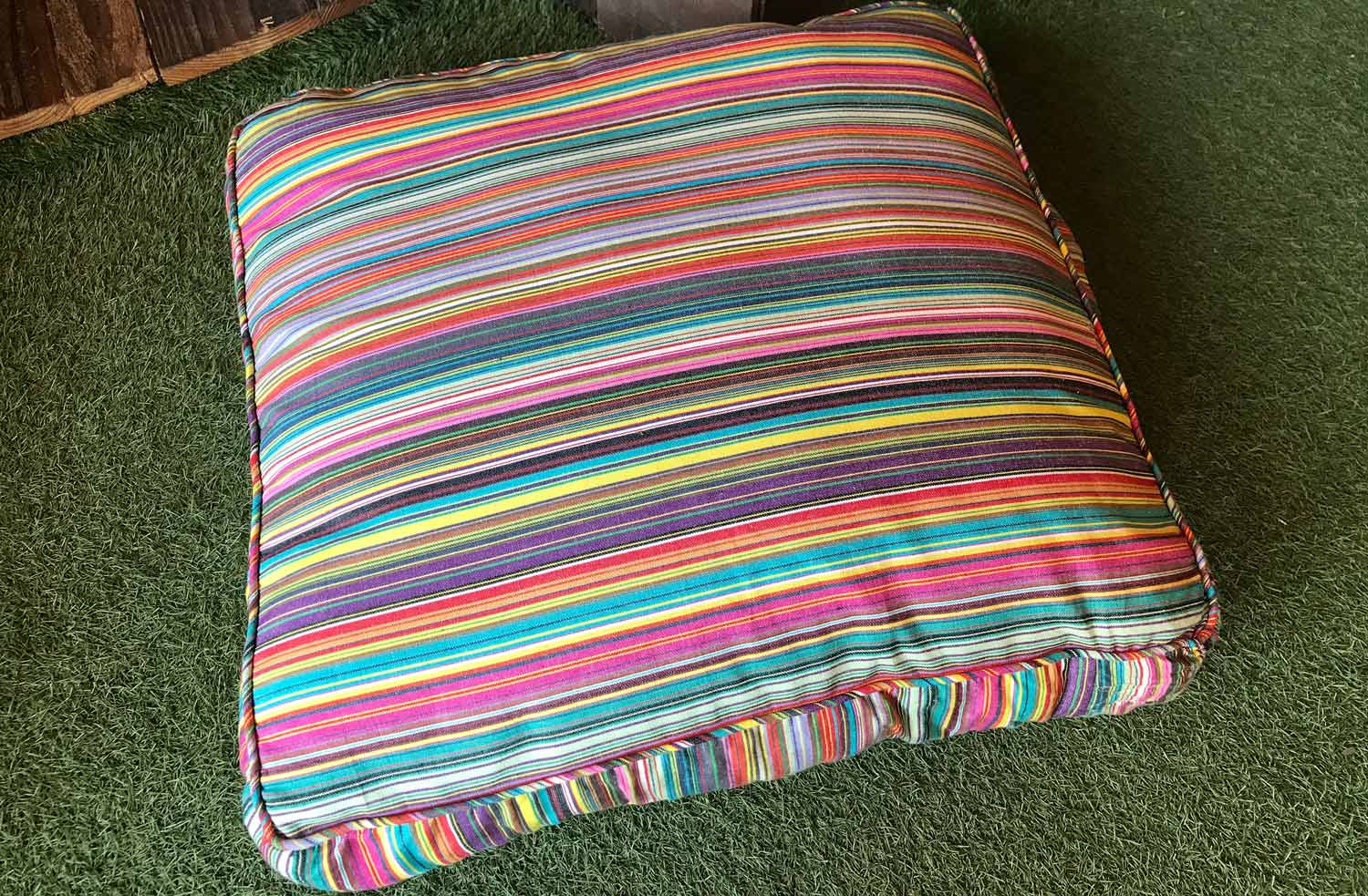 Thin Rainbow Multi Stripes   Large Floor Cushions