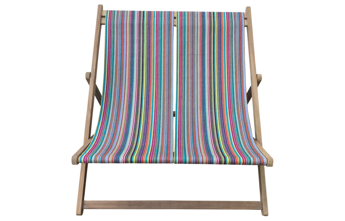 Double Deckchair thin rainbow multi stripes
