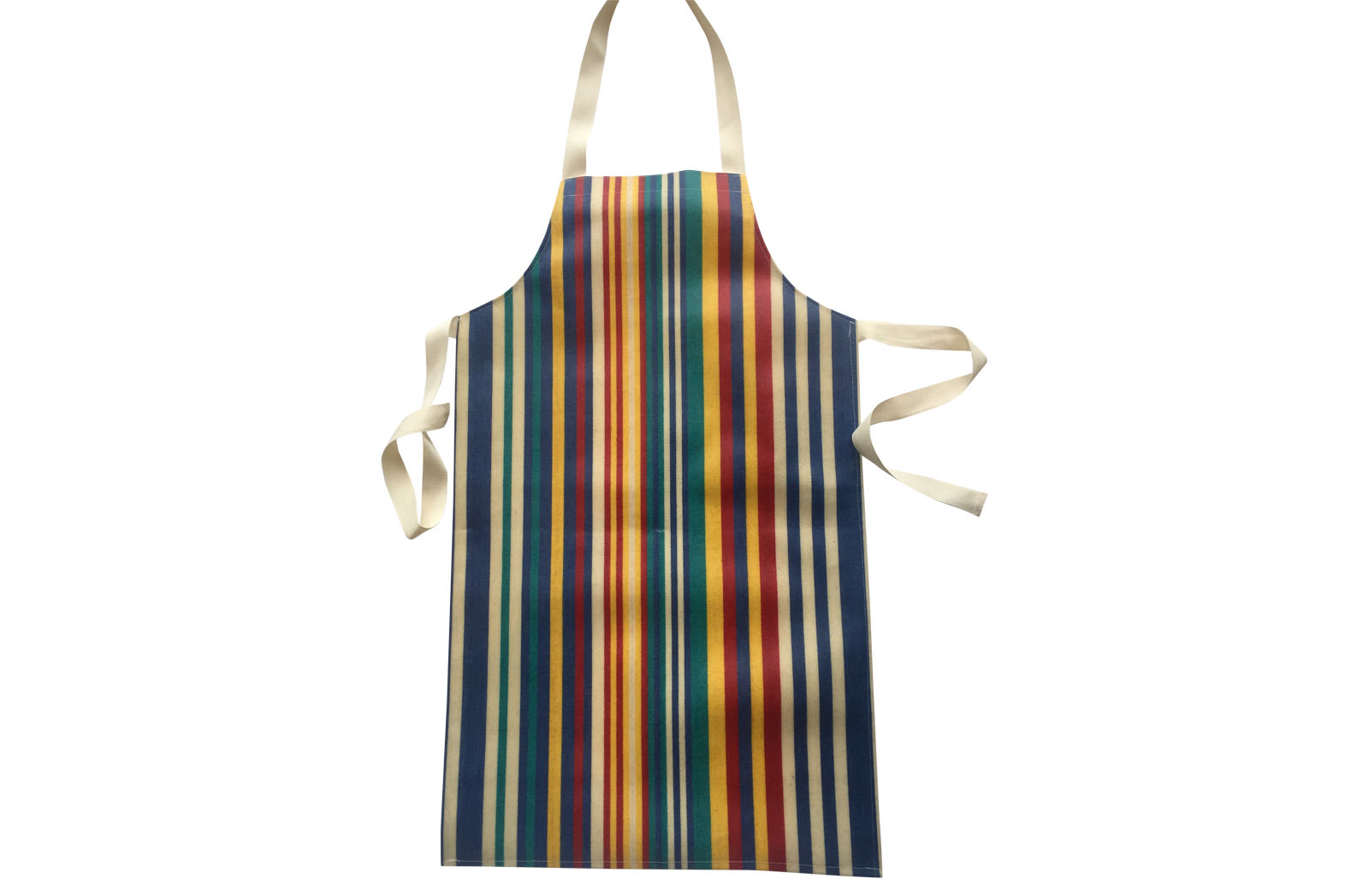 Striped Childs PVC Apron stripes of denim blue, turquoise, red and yellow
