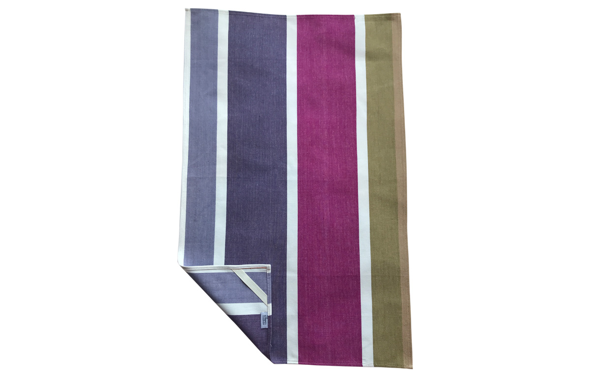 Mauve and Khaki Stripe Tea Towels
