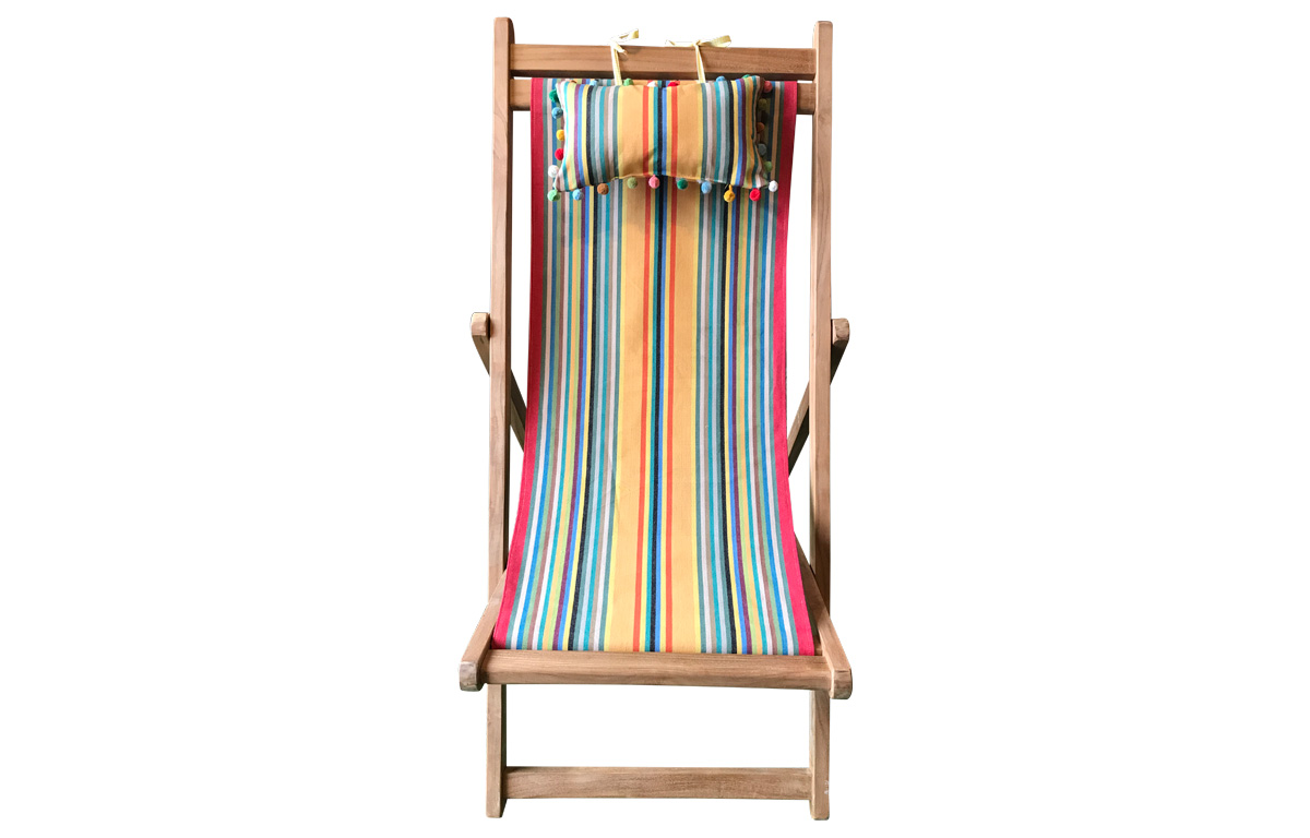 Teak Deckchair with Headrest and Pockets medley of colours in narrow stripes