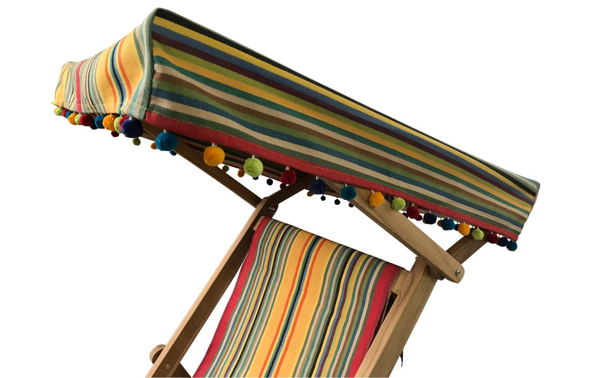 Edwardian Deckchair with Canopy and Footstool medley of colours in narrow stripes