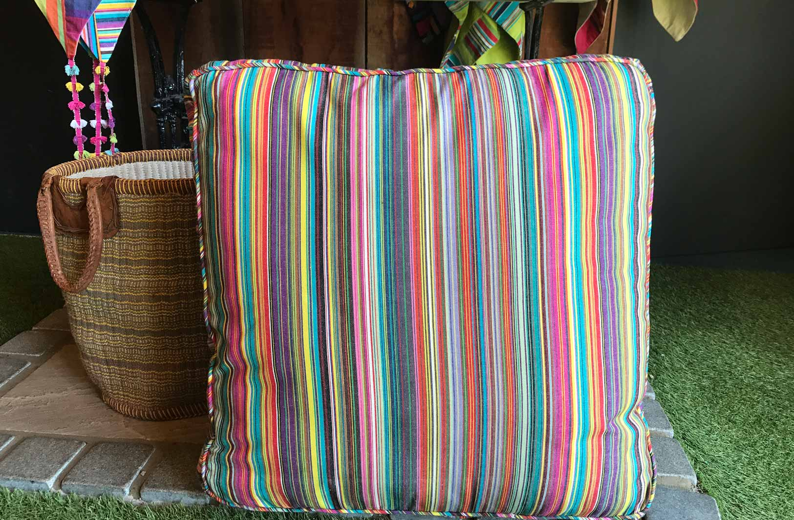 Multi Stripe Floor Cushion Thin Rainbow Stripes