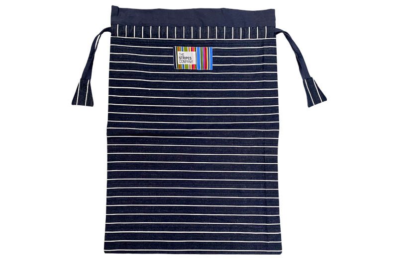Navy Blue and White Striped Drawstring Storage Bags | Laundry Bags | Kit Bags