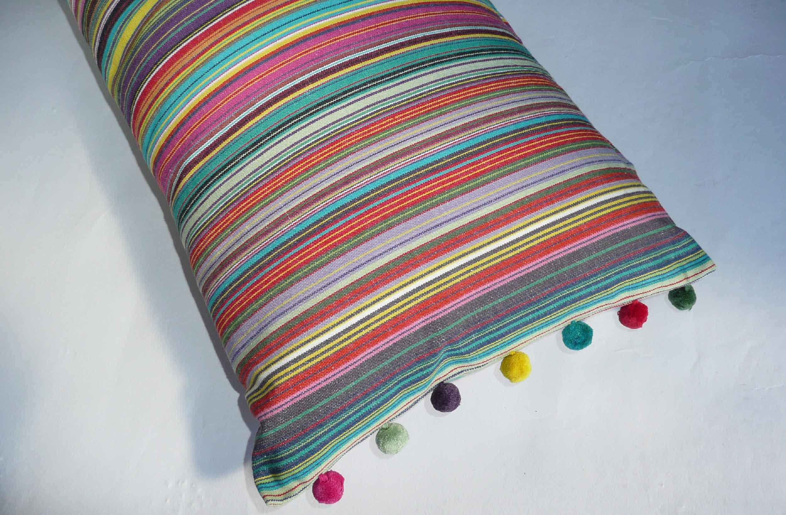 Oblong Cushions Thin Rainbow Multi Stripes Oblong Sofa