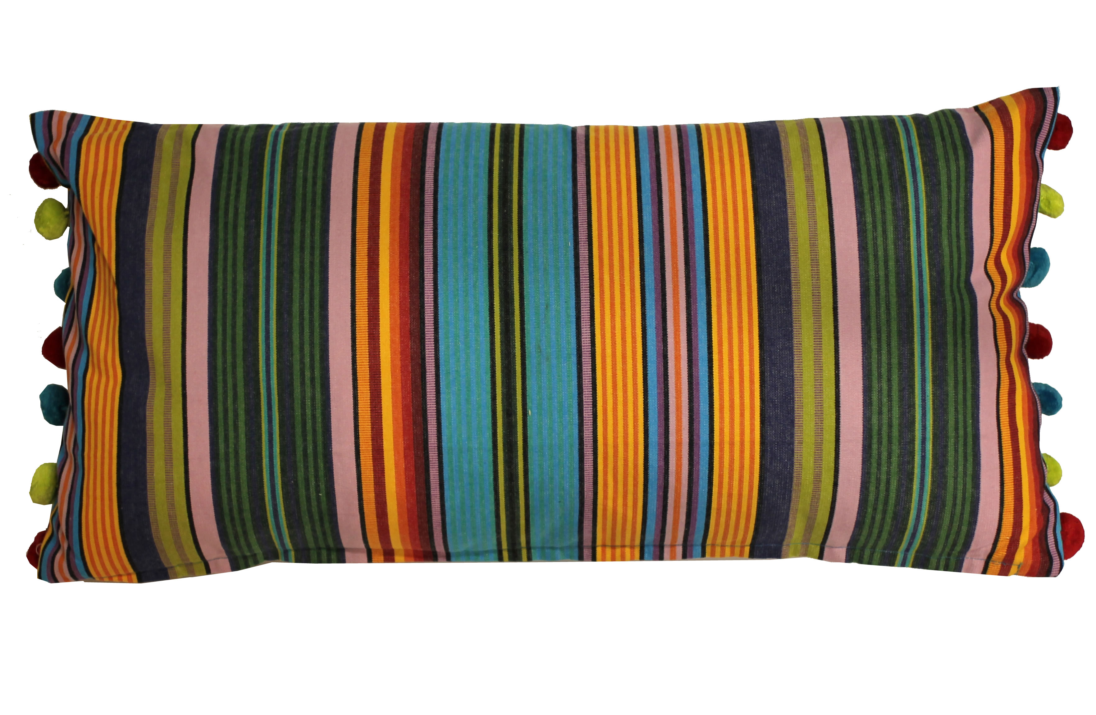 Turquoise Striped Oblong Cushions with Bobble Fringe -Diving Stripe