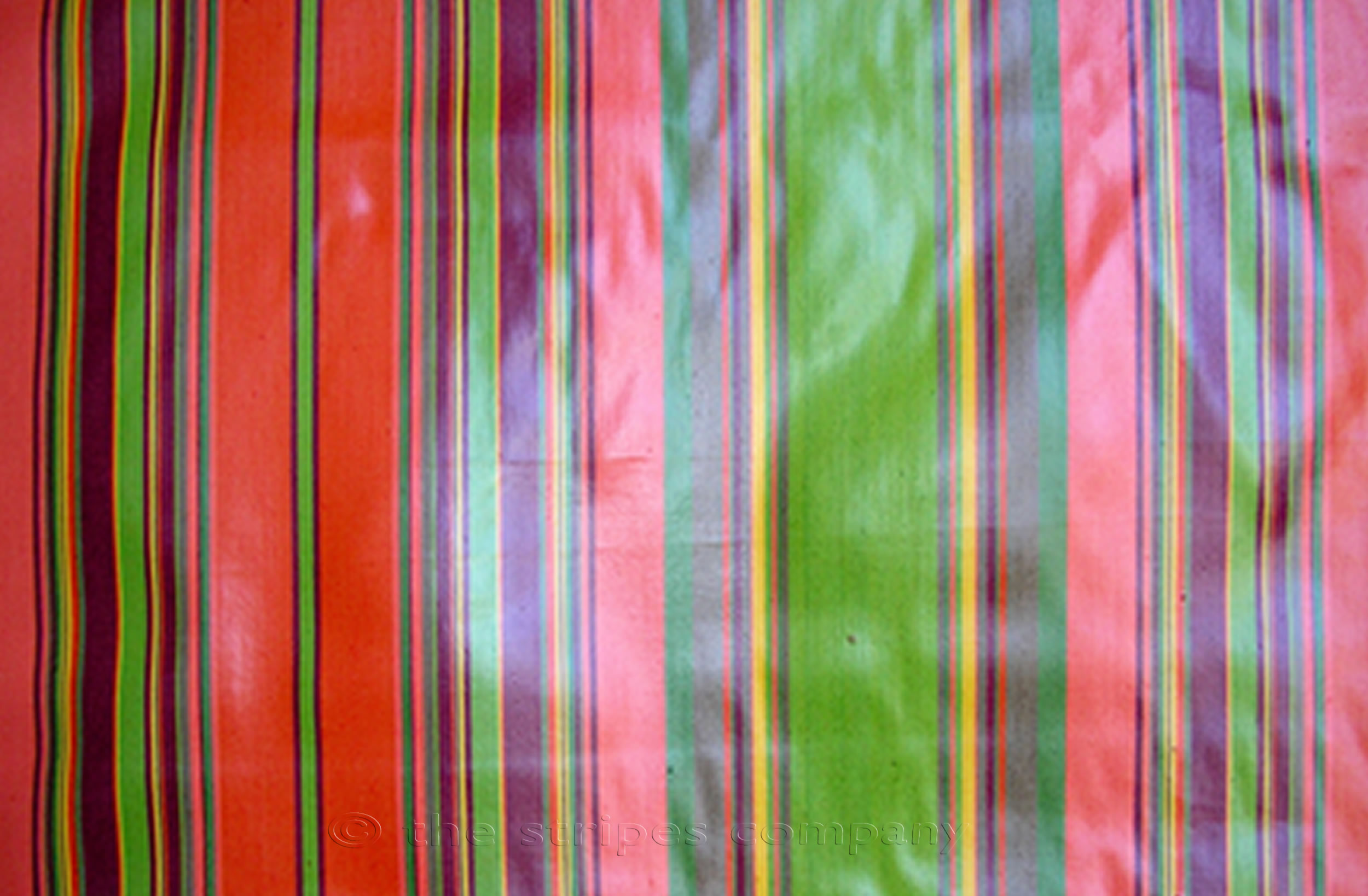Coral Striped Oilcloth Fabrics | Wipeable Stripe Fabrics Slalom Stripes