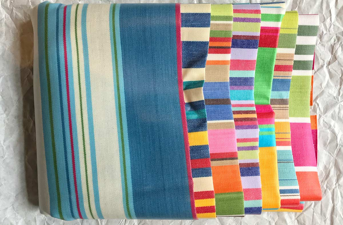 Oilcloth Striped Fabric Remnant Packs
