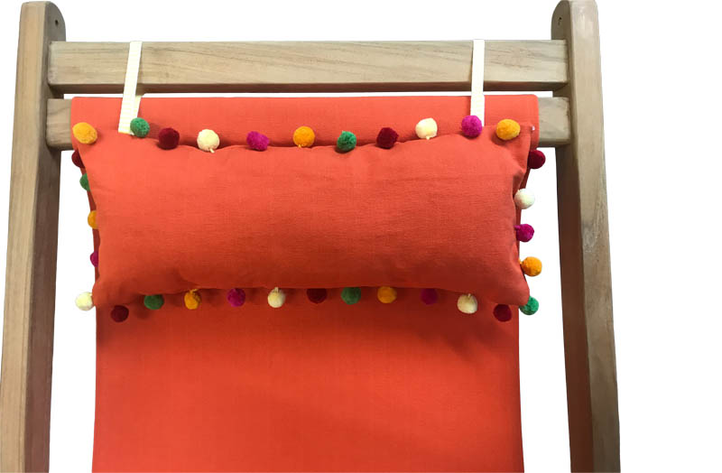 Orange Deckchair Headrest Cushions | Orange Tie on Pompom Headrest Pillow