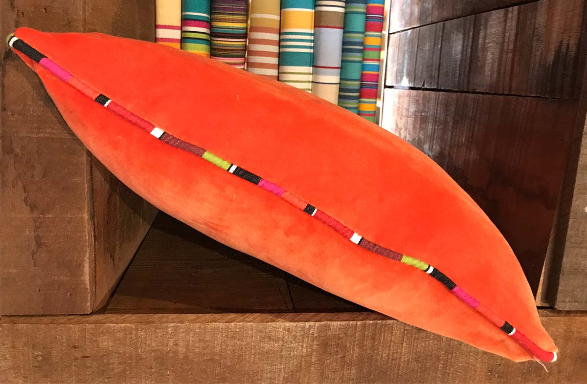 Orange Velvet Cushion with Stripe Piping