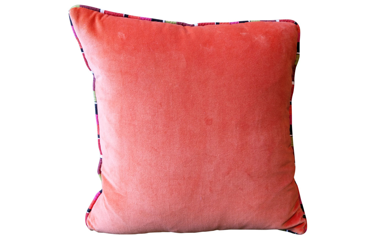 Cushion with Stripe Piping- Orange Velvet Home Furnishings with Stripes