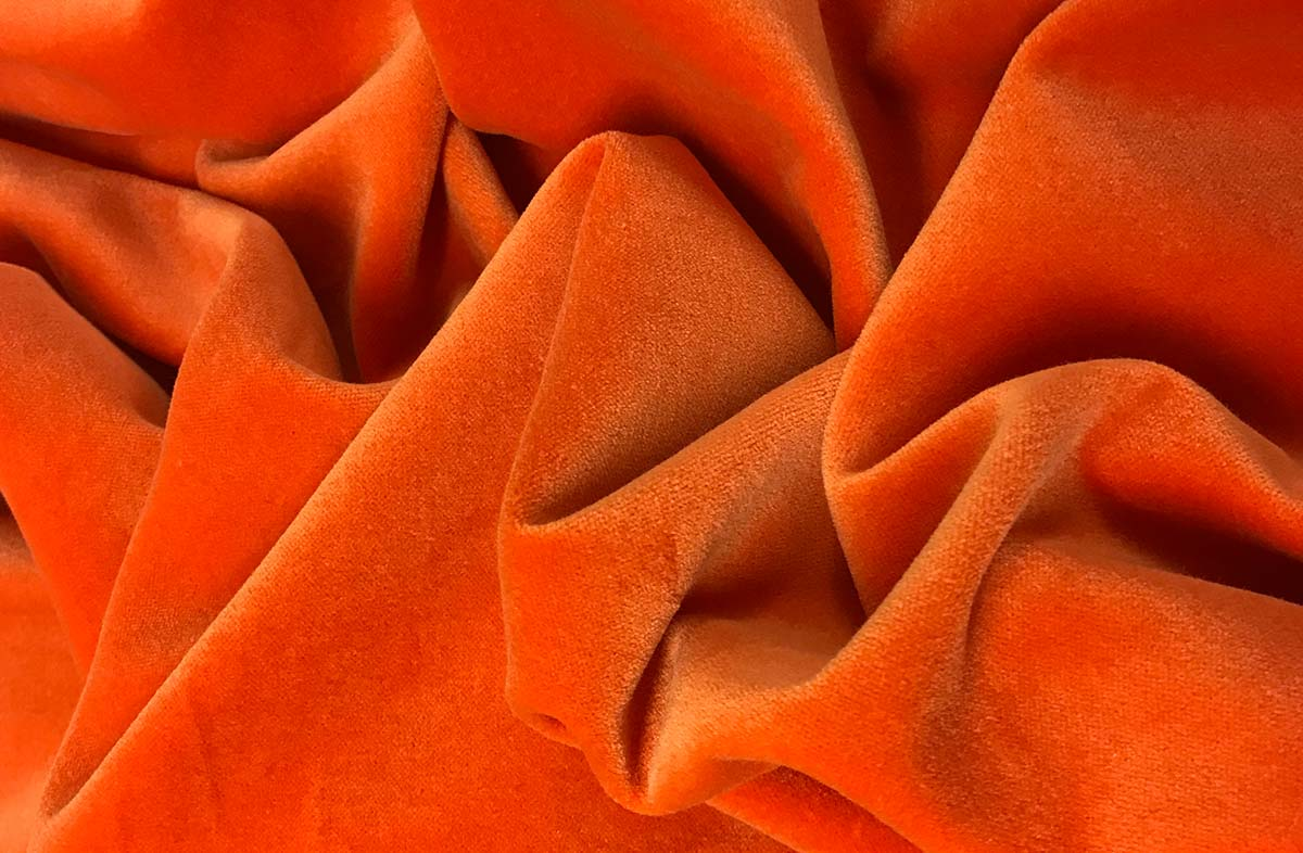 Orange Cotton Velvet Fabric | The Stripes Company