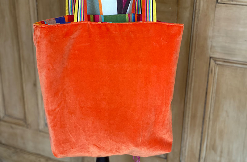 Orange Velvet Reversible Tote Bag