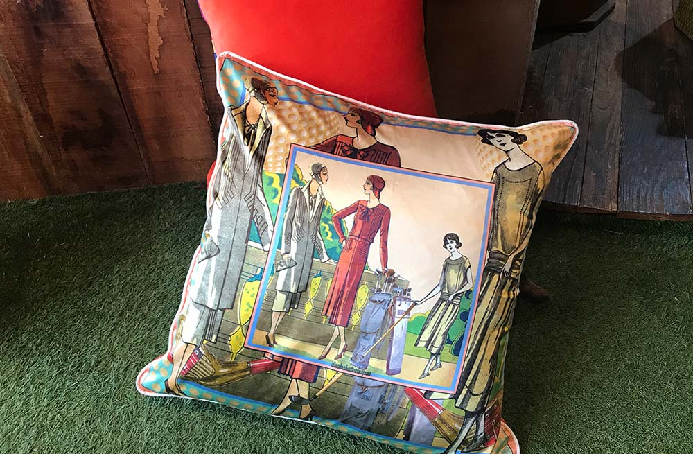 Large Silk and Velvet Cushion with Vintage Ladies Golf Design