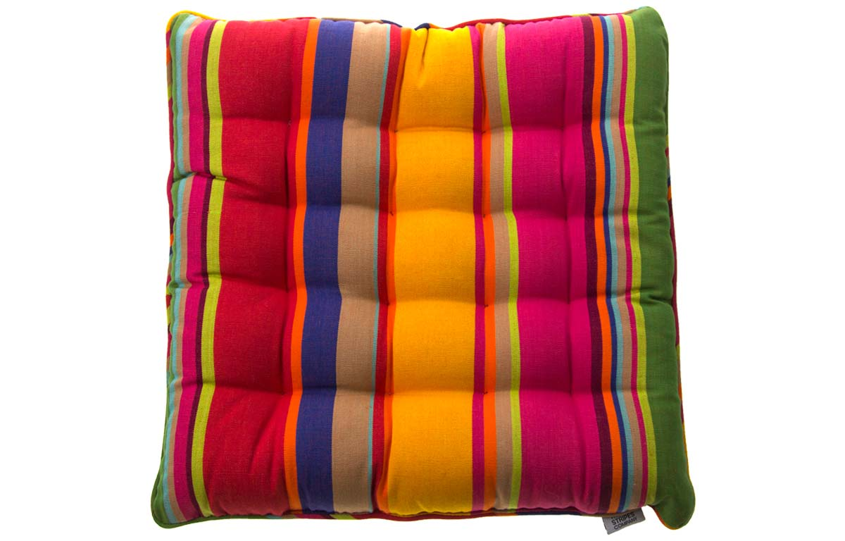 Very Bright Striped Piped Seat Pads