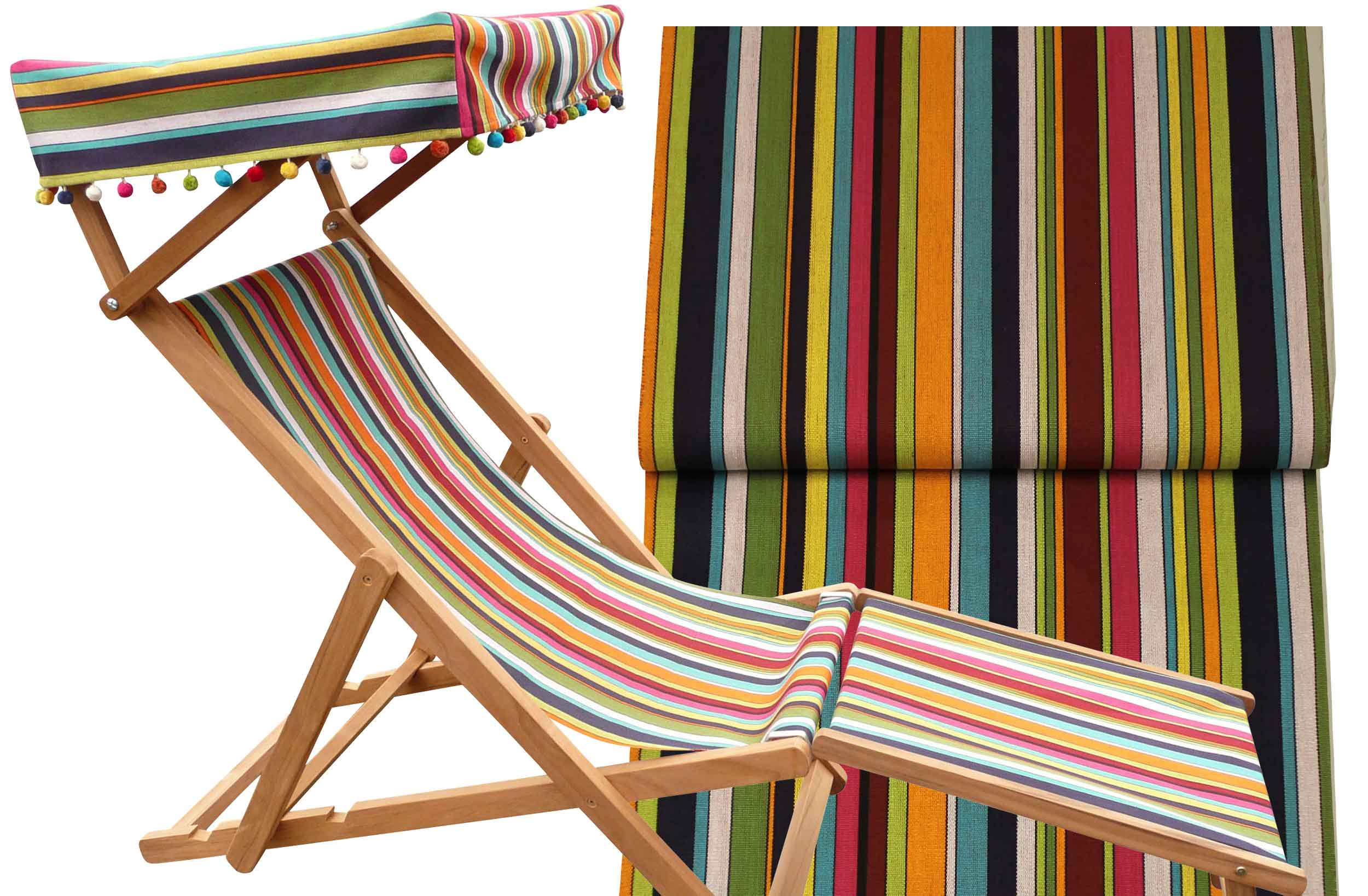 Edwardian Deckchair With Canopy And Footstool The