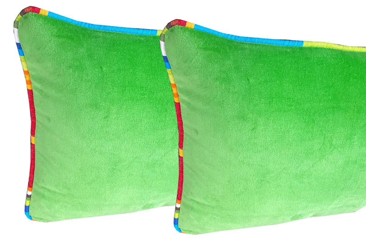 green velvet oblong cushions