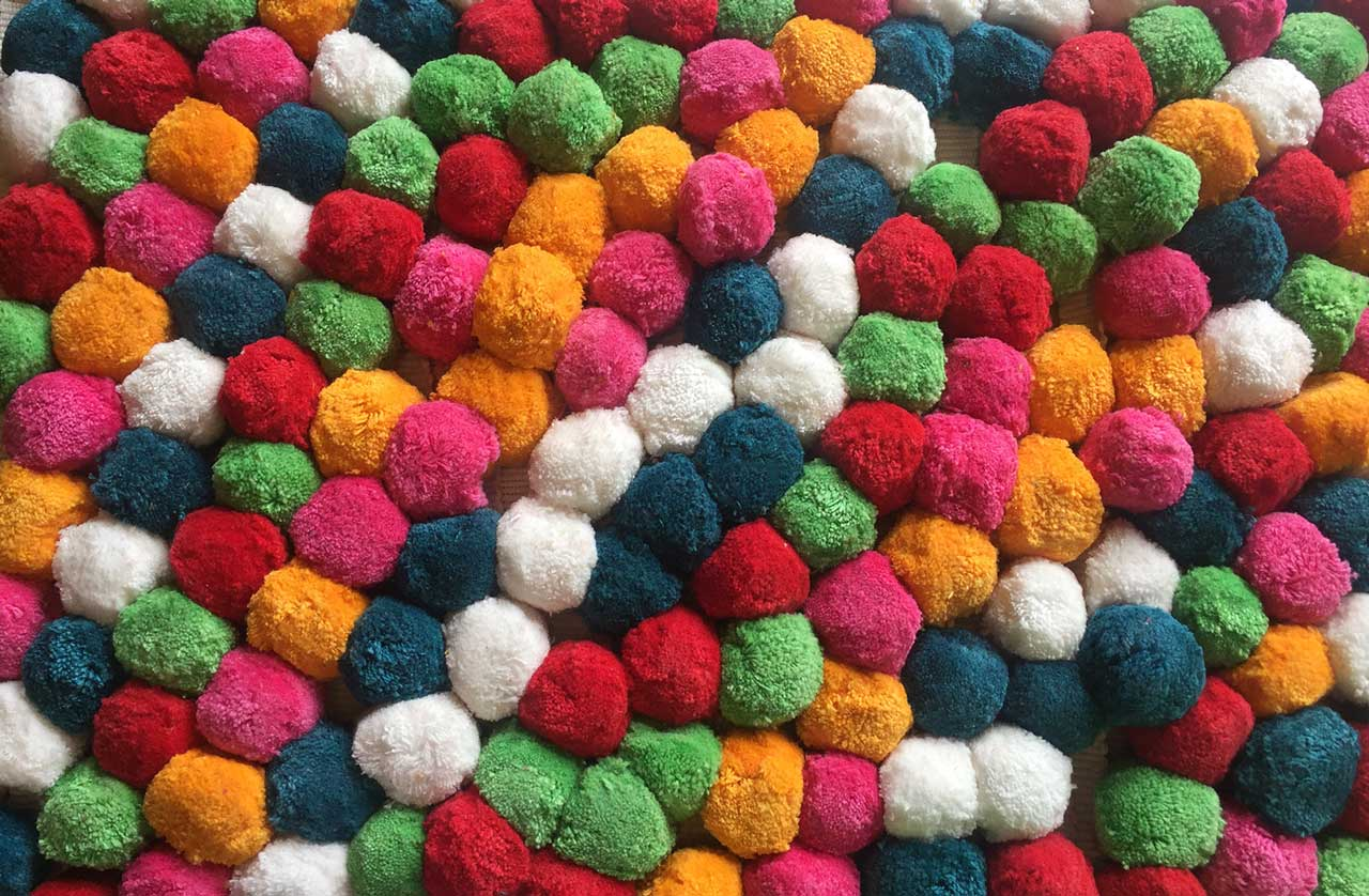 Multicolour Pompom Fringe - pink, blue, red, orange, green and white pompoms
