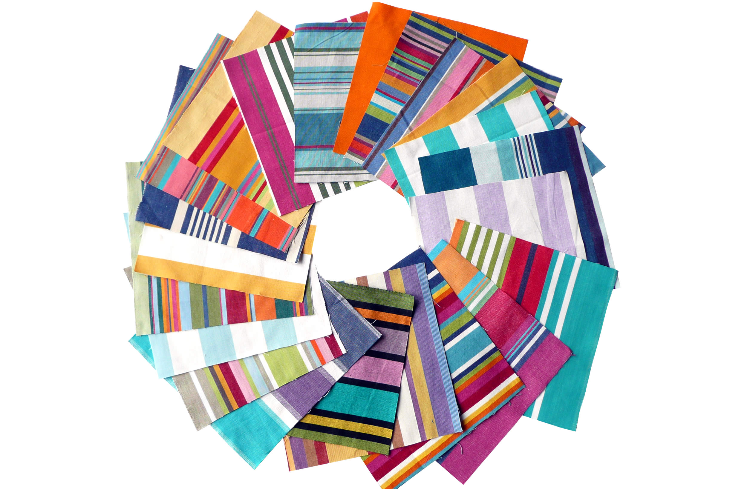 Bumper Pack of Striped Cotton Fabric Squares for Patchwork Quilting Crafters