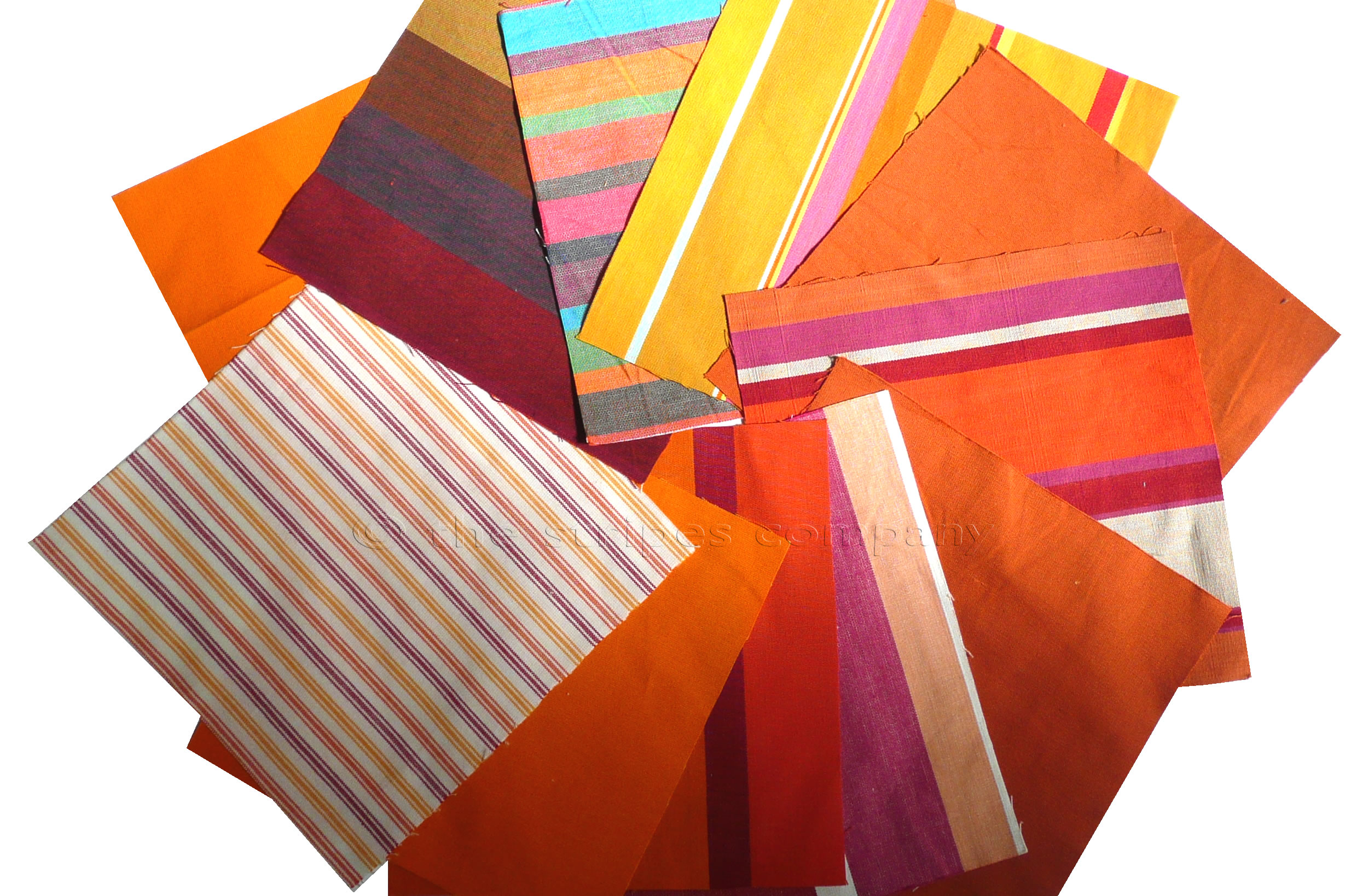 Orange Patchwork Fabric Squares | Quilting Fabric Squares Orange Stripes