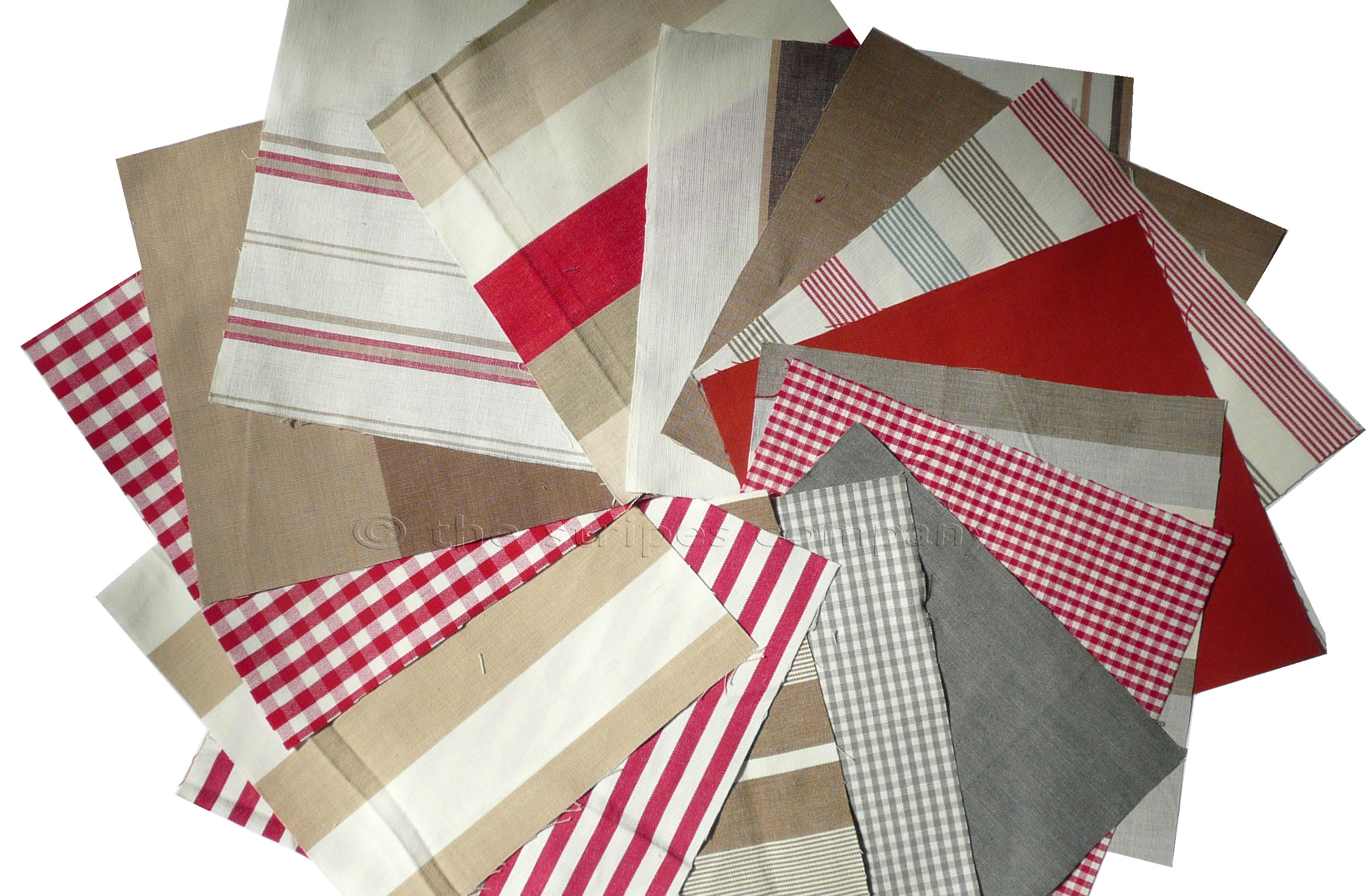 Red Patchwork Fabric Squares | Quilting Fabric Squares Red Beige Stripes