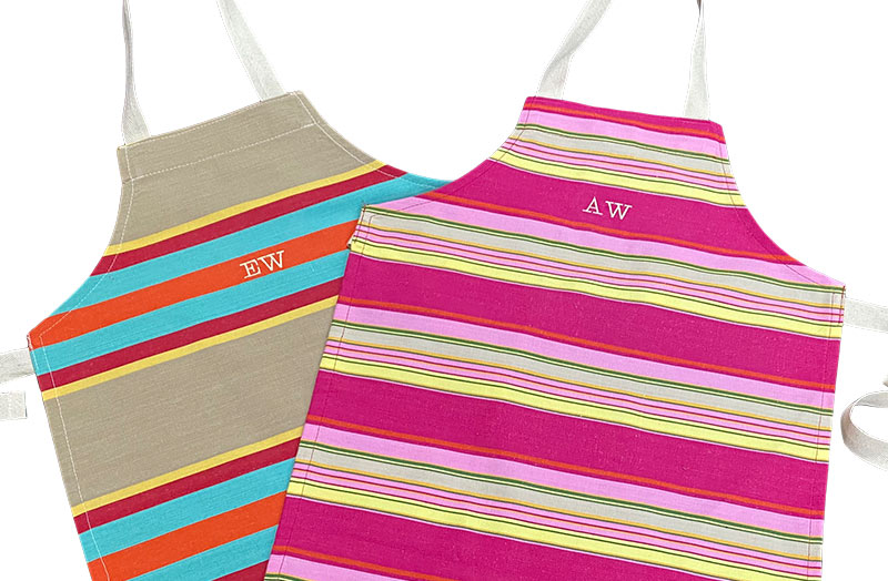 Striped Childrens Aprons Add Personalisation Per Initial