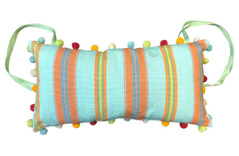 Turquoise, Terracotta, Blue Stripe Deckchair Headrest Cushions | Deck Chair Tie on Pompom Headrest Pillow