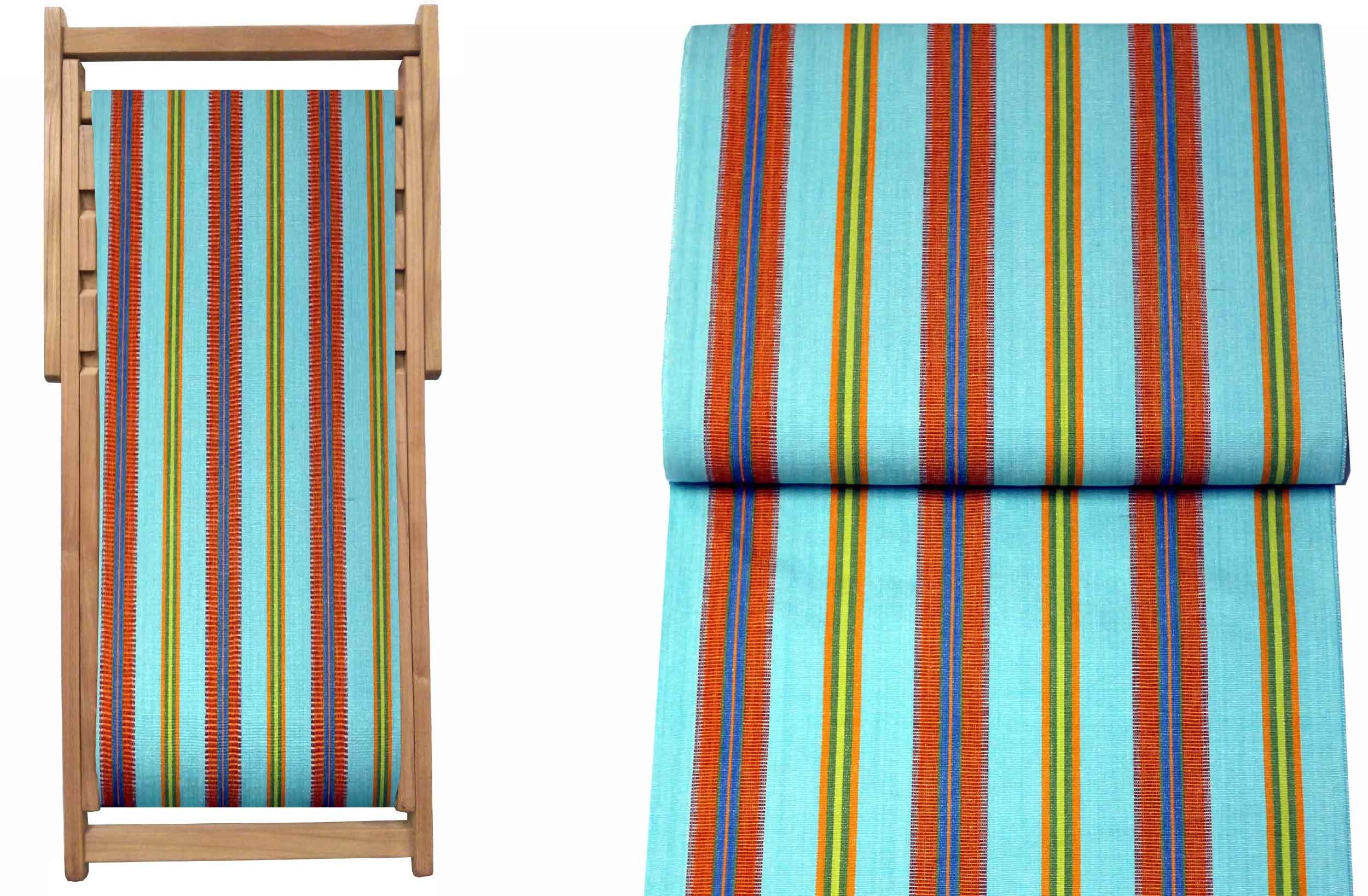 Teak Deck Chairs turquoise, terracotta, blue stripes