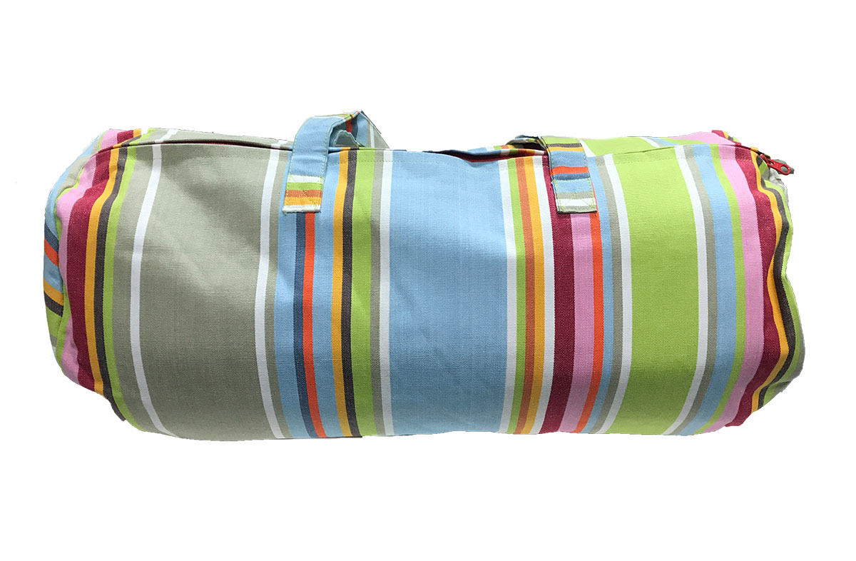 Duck Egg Blue Striped Picnic Mat with Carry Bag