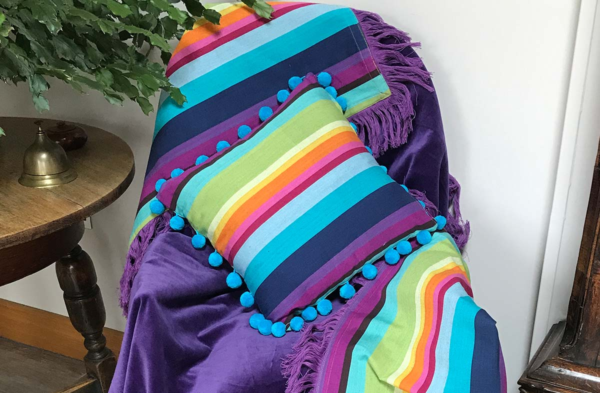 Reversible Purple Velvet Fringed Cotton Throw with Rainbow Stripes