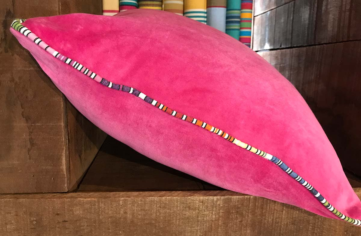 Pink Velvet Cushion with Stripe Piping