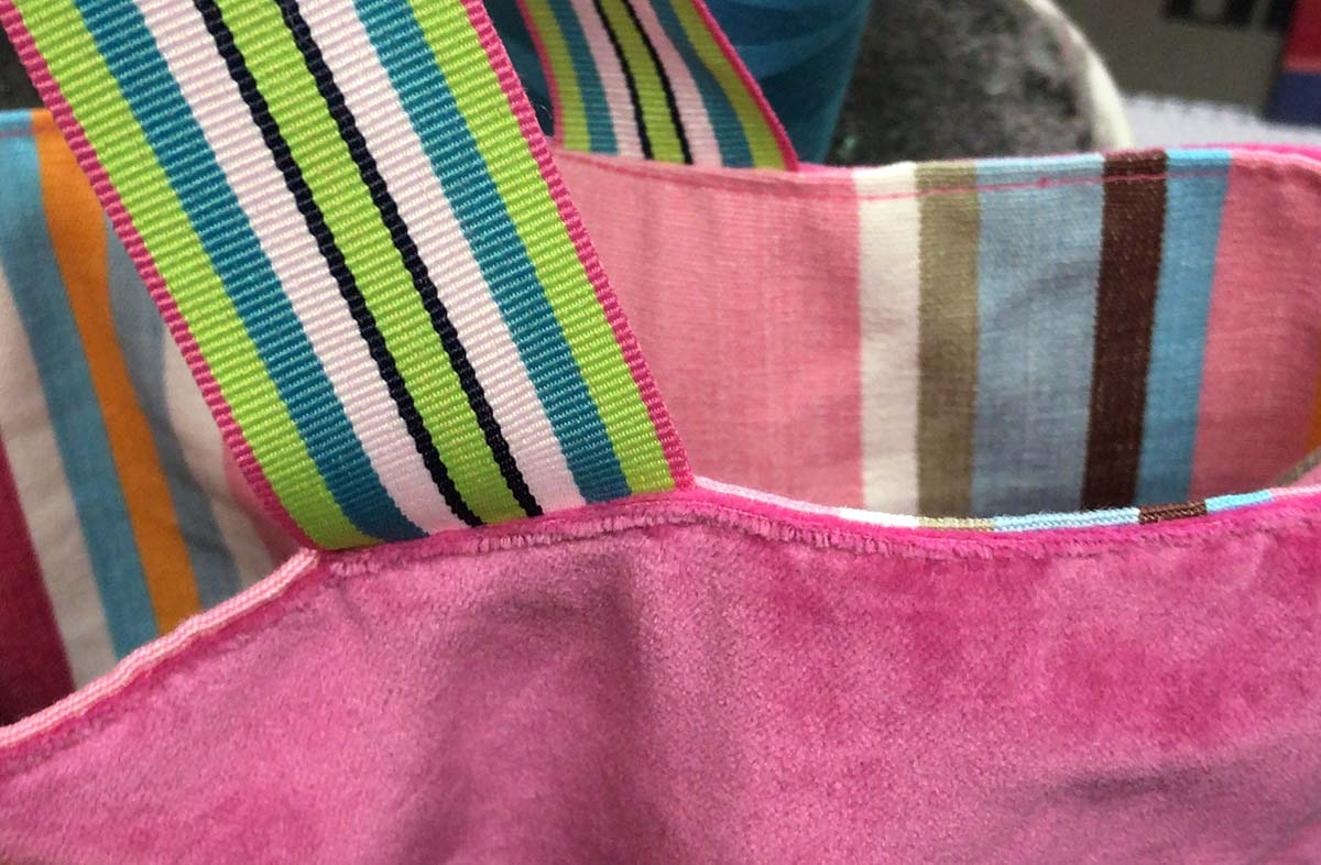 striped reversible pink velvet tote bag