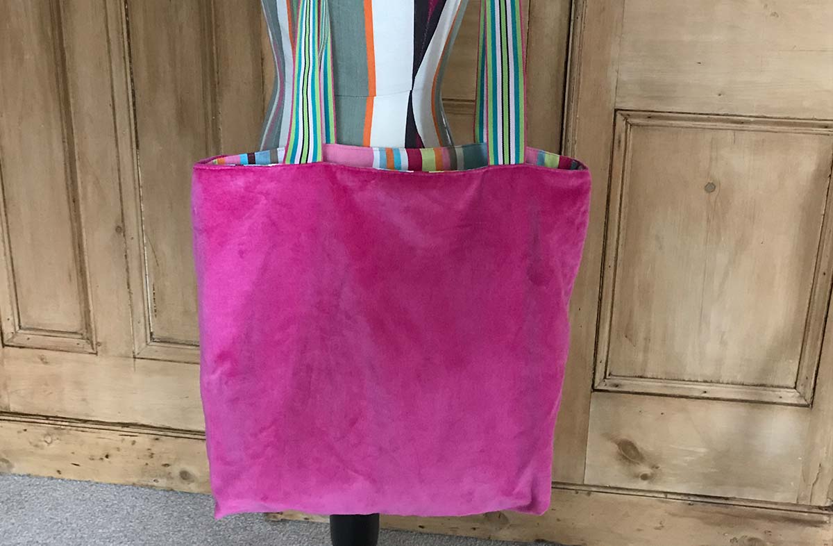 Pink Velvet Reversible Tote Bag