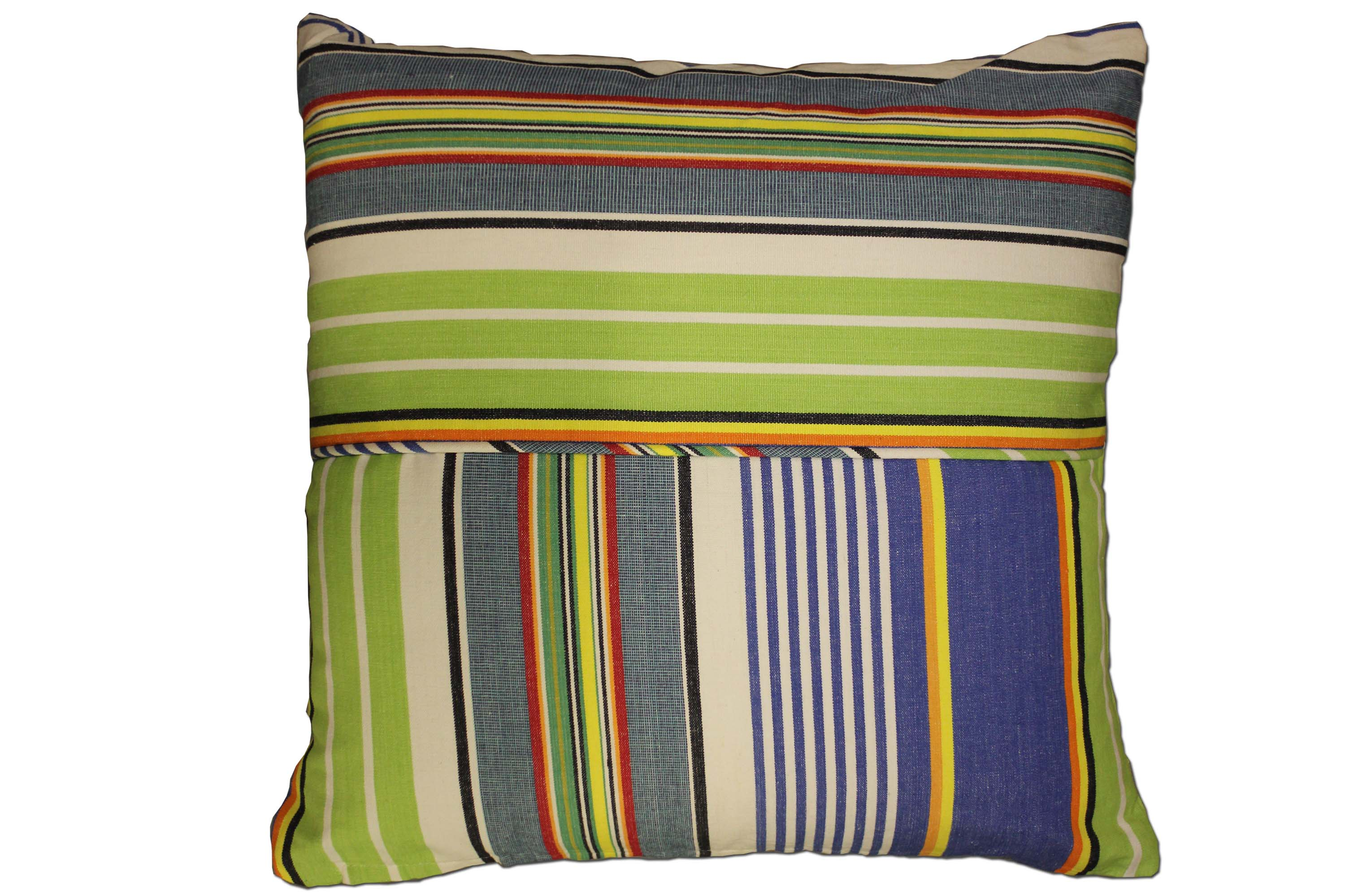 Bright Blue Striped Piped Cushions | Square Piped Cushions Bright Blue  Denim Blue  Lime Green