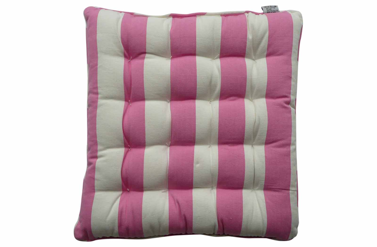 Pink and White Striped Seat Pads with Piping