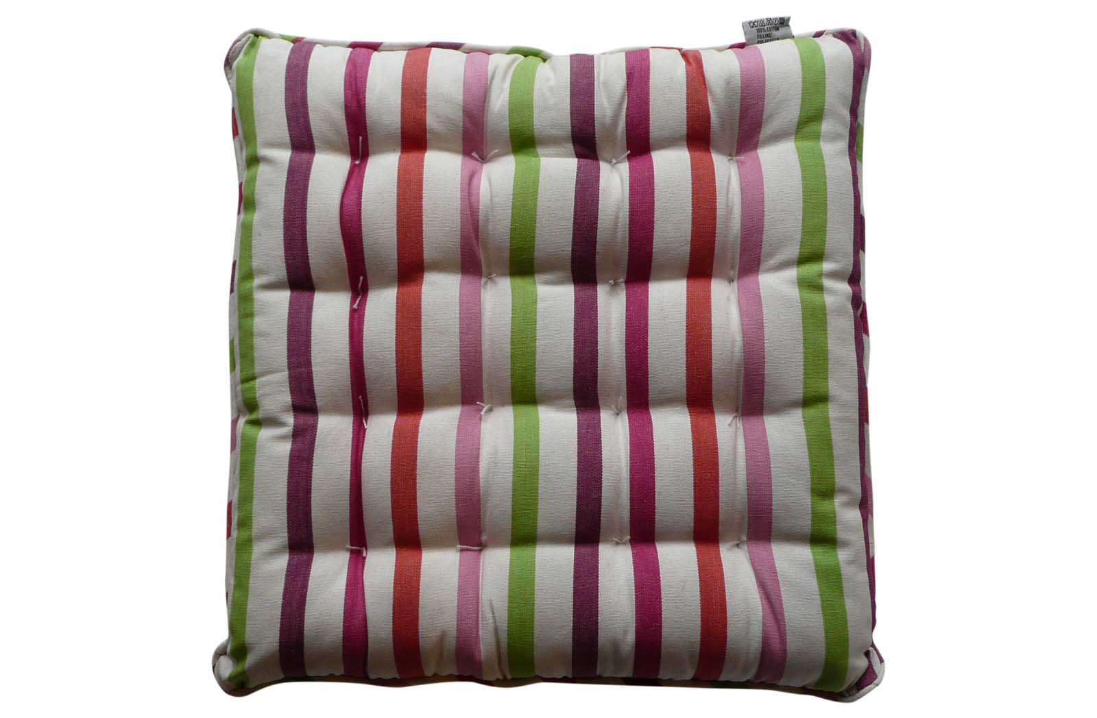 Striped Seat Pads with Piping White Pink Purple